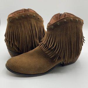 Minnetonka Brown Leather Fringe Ankle Booties 7